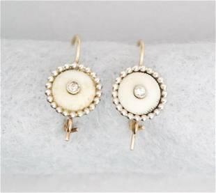 Gold & Diamond Conversion Button Earrings