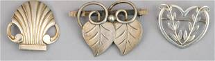 Lot of 3 Georg Jensen Sterling Silver Pin Brooches