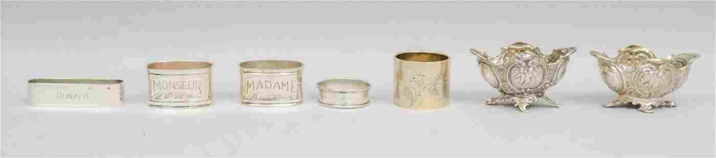 Group of Sterling Silver Napkin Rings and Salts