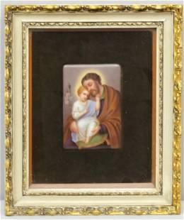 Hand Painted Porcelain Plaque, Jesus & Joseph