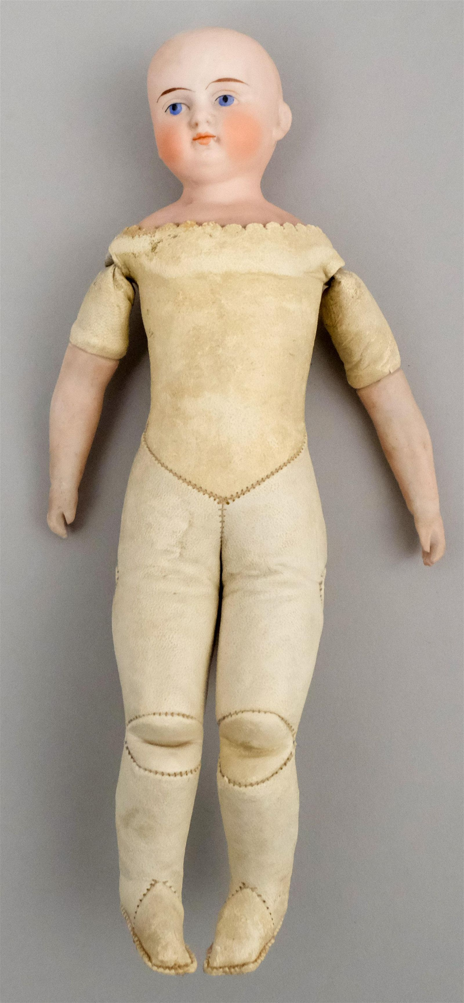 Antique Leather & Bisque Doll French or German
