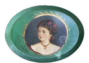 A late 19th century painted tin tray, Constantinople
