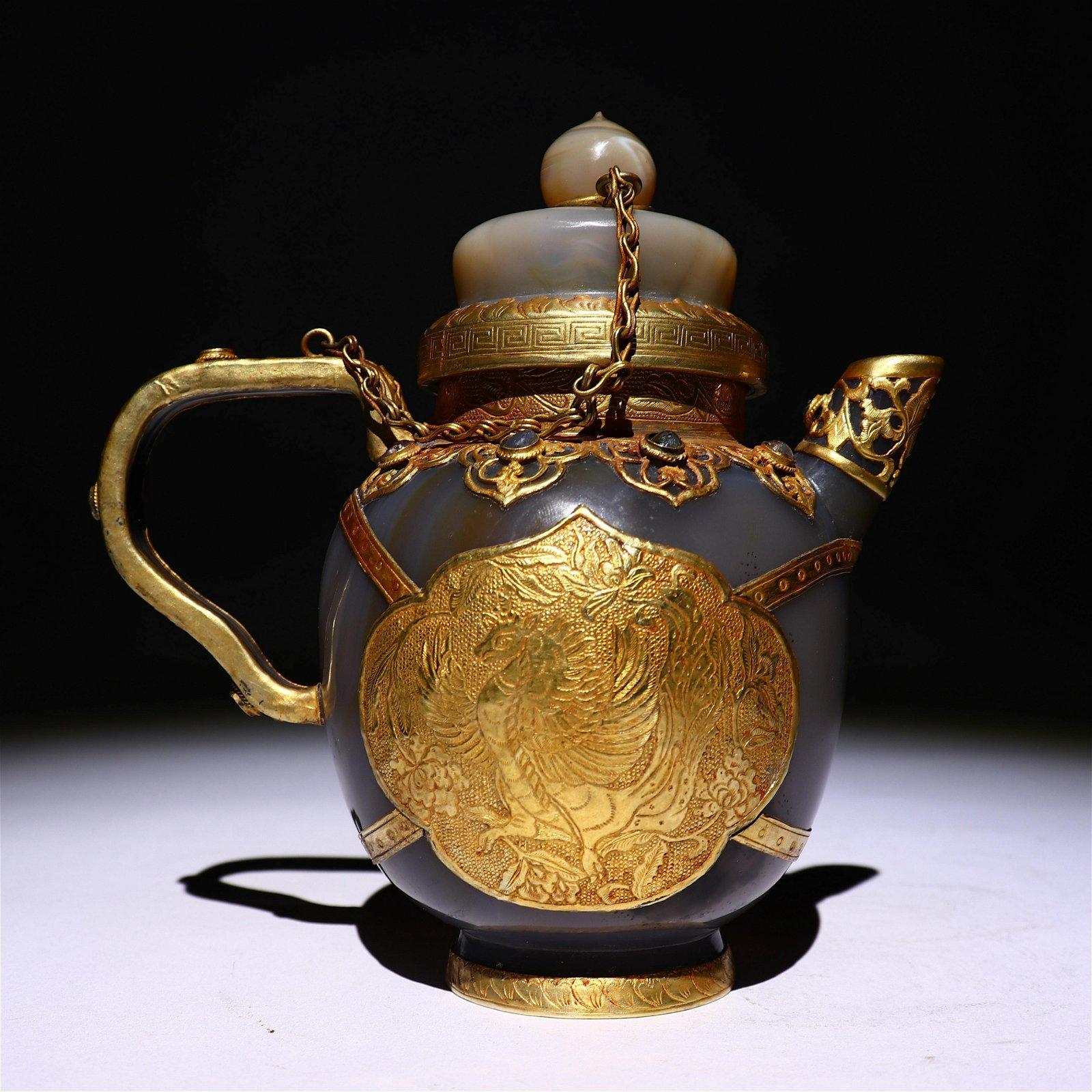 Hetian jade inlaid gold teapot