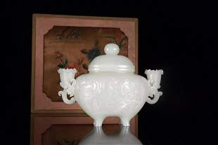 Hetian White Jade Tea Set with Character Story Design