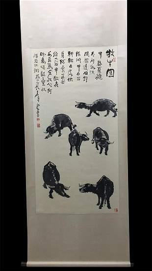 Quality Good. Vertical Painting: Herding Cows by Li