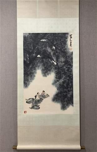 Vertical Painting: Herding Cows by Li Keran, Modern