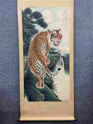 A CHINESE PAINTING, UP- MOUNTAIN TIGER, ZHANG SHANZI