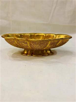 A  TANG DYNASTY GILDED BEGONIA CUP