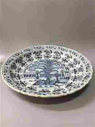 A YUAN DYNASTY BLUE AND WHITE PLATE