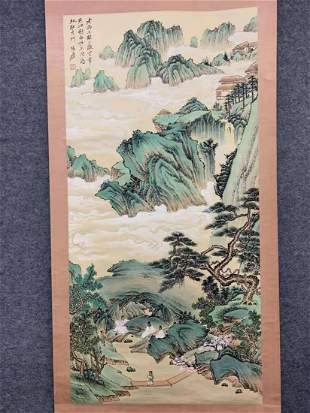 A CHINESE PAINTING LANDSCAPE , ZHANG DAQIAN MARKED
