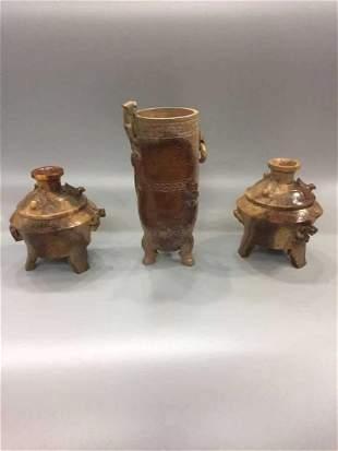 THREE PIECES HAN DYNASTY JADE DRINKING VESSELS