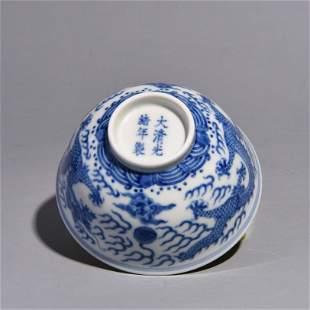 A BLUE FLOWER DCRAGON PATTERNEDC BOWL