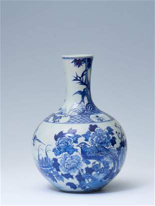 Blue and white flower and bird decorated sky ball