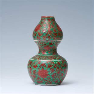 Green alum red flower decorative gourd bottle