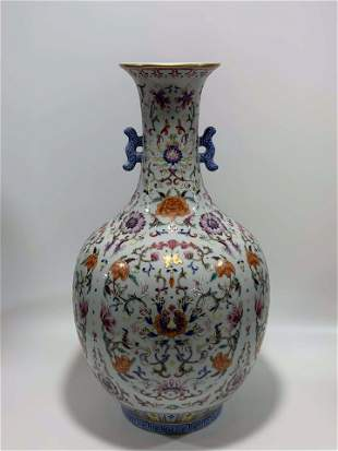 Qing Dynasty Qianlong pastel precious flower double ear