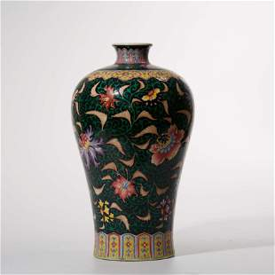 Plum vase decorated with ink and color patterns