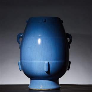 Sky blue glazed double ear statue