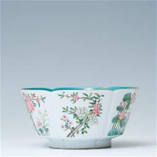 Inner pine green glaze outer famille rose flower