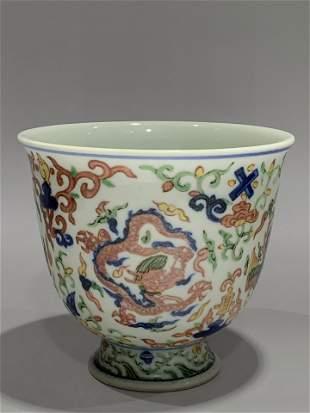 Ming Wanli colorful dragon phoenix cup