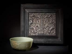 Hetian jade dragon bowl