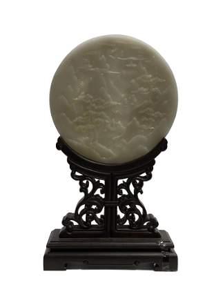 Hetian jade white jade carving landscape figures,