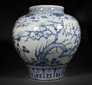 A MING DYNASTY BLUE AND WHITE PINE BAMBOO PLUM JAR