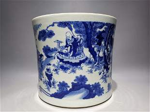 A MING DYNASTY CHONGZHEN BLUE AND WHITE FIGURE OFFERING