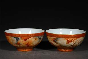 A PAIR OF QING DYNASTY STONE GRAIN GLAZE GOLD DRAWING