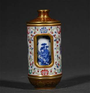 A QING DYNASTY BLUE AND WHITE FAMILLE ROSE REVOLVING
