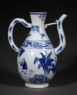 A MING DYNASTY BLUE AND WHITE FIGURE EWER POT