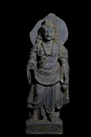 A GANDHARA GRAY SCHIST BUDDHA