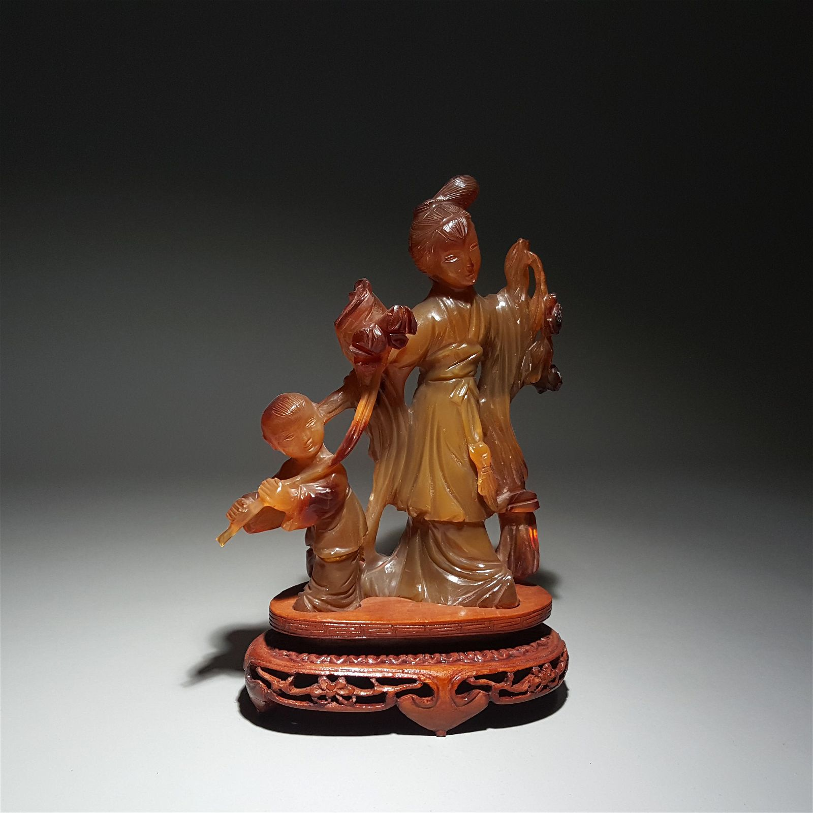 AGATE LADIES AND BOY ORNAMENTS