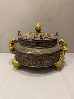A QING DYNASTY QIANLONG SILVER-GILT TRUE GOLD INCENSE