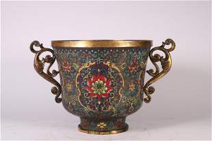 A QING DYNASTY CLOISONNE CUP