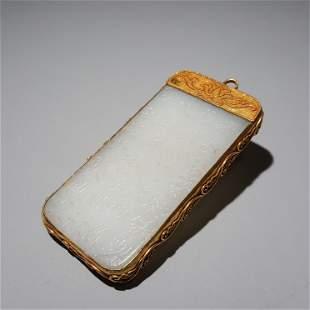 A HETIAN JADE SILVER-GILT TABLETS