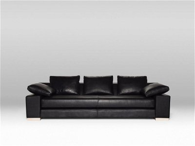 Canyon Sofa - Black Leather / Ash Feet