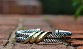 David Yurman Double Cable Twist Cuff 14 KT & 925
