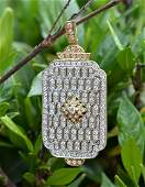 18kt, 2-Toned Designer Diamond Tag Pendant