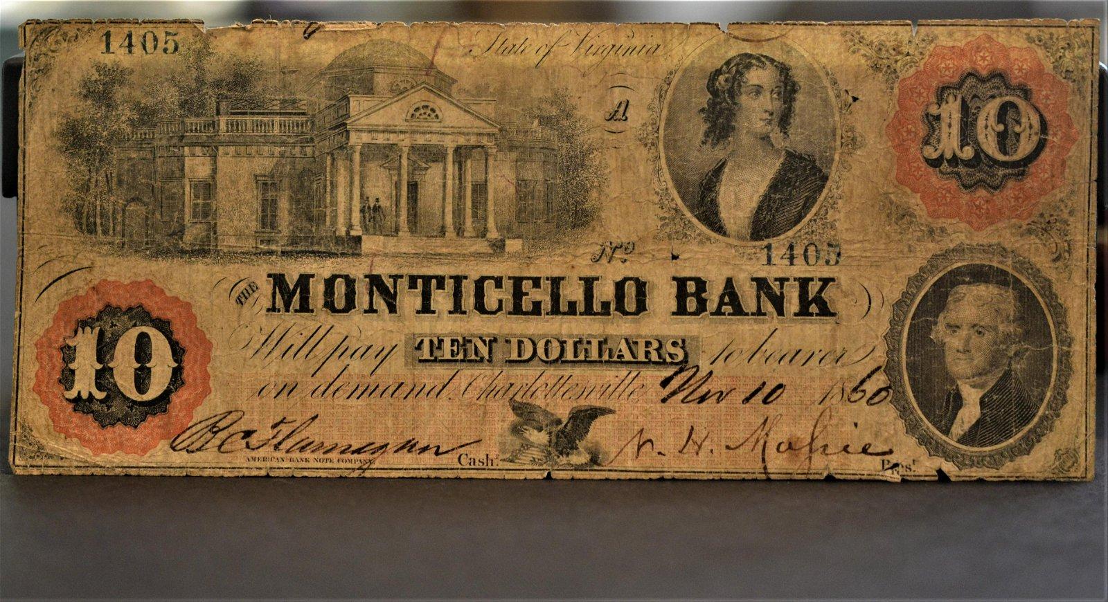 Rare Early Confederate $10 from Charlottesville, VA