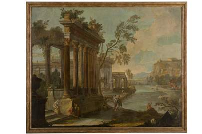 ( - ) River landscape with architectural whimNeapolitan