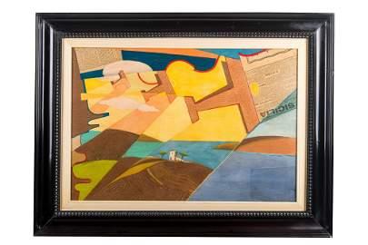 D'Anna(1908 - 1978) Flock of Caproni planes + landscape