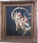 LARGE Oil on Board Cherubs or Angels