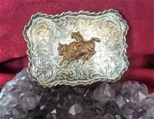 Diablo Sterling Silver Bull Riding Belt Buckle