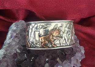 Sterling Silver Cuff Bracelet Copper Lion and Vikings?