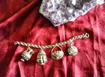 Sterling Silver DANECRAFT Indian Charm bracelet HEAVY