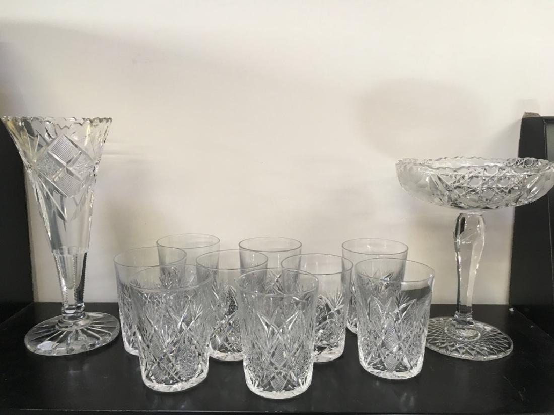 ELEVEN PCS OF CUT GLASS