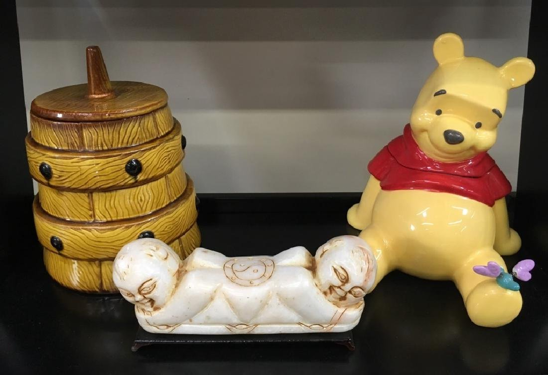 CARVED CHINESE PILLOW & PAIR OF COOKIE JARS