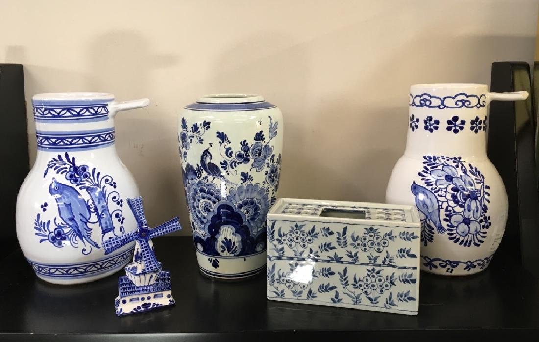 FIVE PCS OF BLUE & WHITE DELFT POTTERY