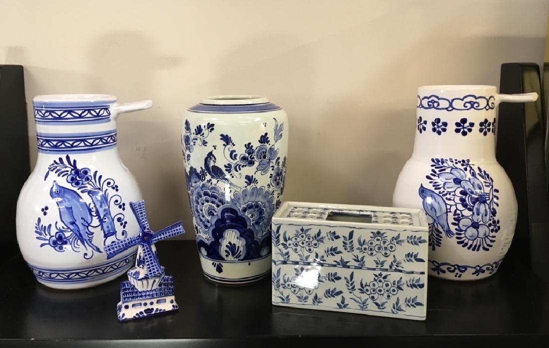 FIVE PCS OF BLUE & WHITE DELFT POTTERY