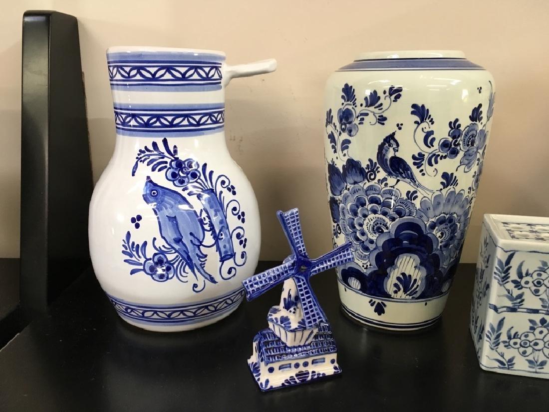 FIVE PCS OF BLUE & WHITE DELFT POTTERY - 2